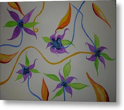 Metal Print featuring the painting Purple-orange Flowers by Erika Swartzkopf