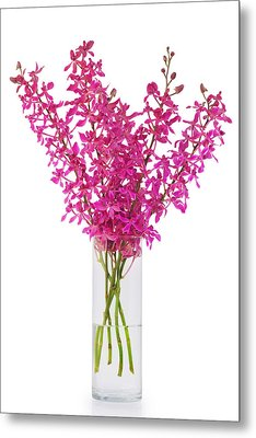 Purple Orchid In Vase Metal Print by Atiketta Sangasaeng