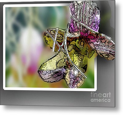 Purple Orchid Pop Metal Print