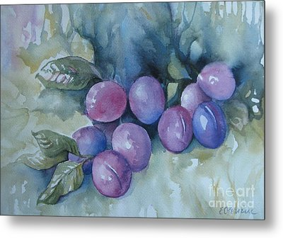 Metal Print featuring the painting Purple Plums by Elena Oleniuc
