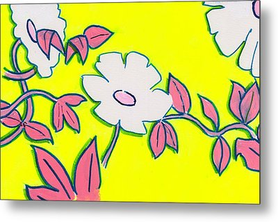 Purple Pointed Petals And Bright White Flowers Against Yellow Metal Print by Mike Jory