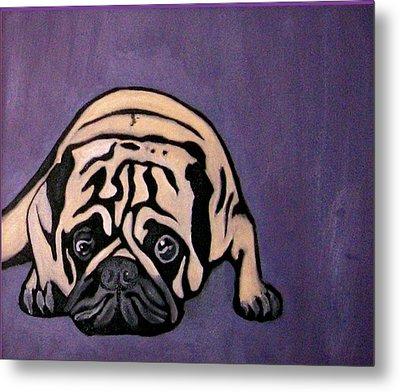 Purple Pug Metal Print
