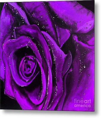 Purple Rose Metal Print by Natasha Moustasha Walsh