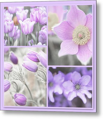 Metal Print featuring the photograph Purple Spring Bloom Collage. Shabby Chic Collection by Jenny Rainbow