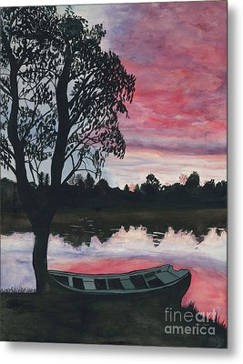 Purple Sunset With Boat Metal Print by Patty Vicknair