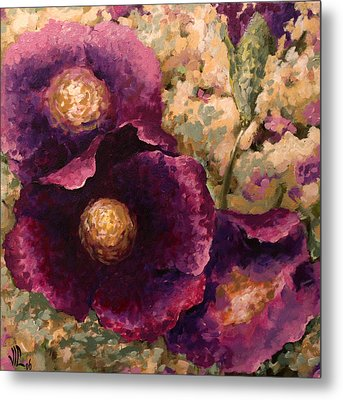 Purple Trio-flowers Metal Print by Vali Irina Ciobanu