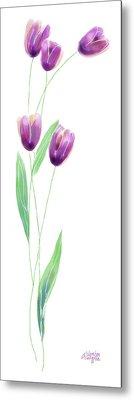 Purple Tulips Metal Print by Arline Wagner