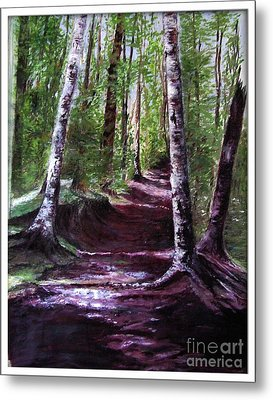 Metal Print featuring the painting Purple Walk by Sibby S