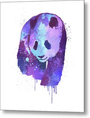 Purple Watercolor Panda Metal Print by Thubakabra