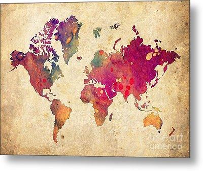 Purple World Map Watercolor Print  Metal Print