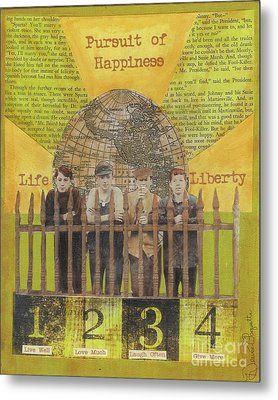 Metal Print featuring the mixed media Pursuit Of Happiness by Desiree Paquette