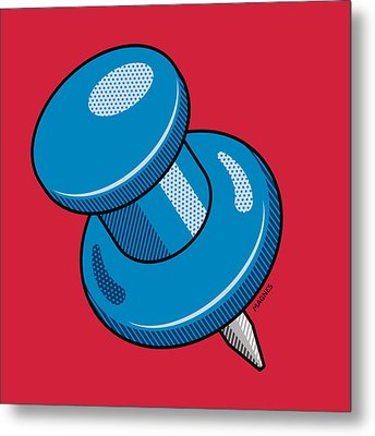 Metal Print featuring the digital art Push Pin by Ron Magnes