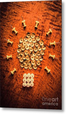 Pushpins Arranged In Light Bulb Icon Metal Print