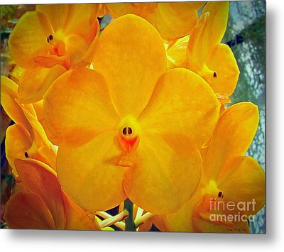 Put On A Happy Face Yellow Orchids Metal Print by Sue Melvin
