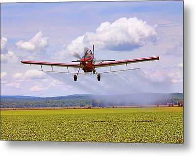 Putting It Down - Ag Pilot - Crop Duster Metal Print by Jason Politte