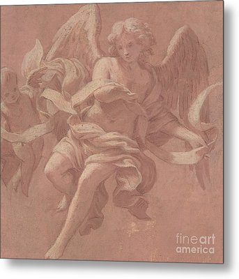 Putto And Angel Holding A Banderole, 1706  Metal Print by Antonio Franchi