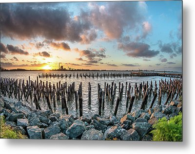 Metal Print featuring the photograph Pylons Mill Sunset by Greg Nyquist