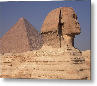 Pyramid And Sphinx Metal Print by Mary Lane
