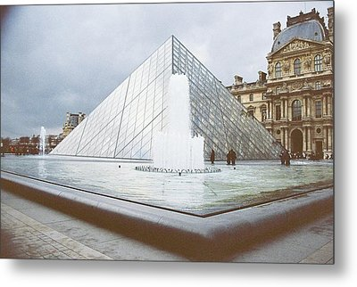 Pyramid At The Louve Metal Print by Rosemary Augustine