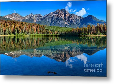 Pyramid Mountain Morning Reflections Metal Print by Adam Jewell