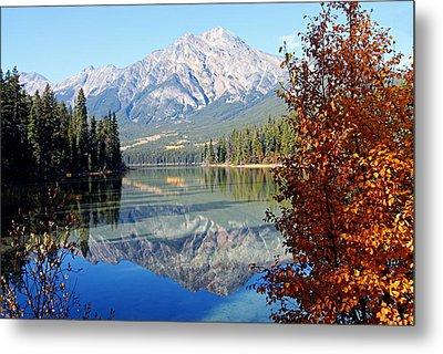 Pyramid Mountain Reflection 3 Metal Print by Larry Ricker