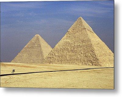 Pyramids At Giza Metal Print by Mark Greenberg