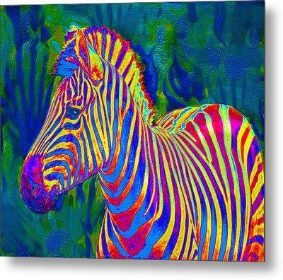 Pyschedelic Zebra Metal Print