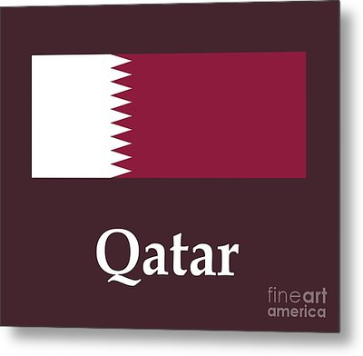 Qatar Flag And Name Metal Print by Frederick Holiday