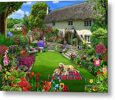 Quaint Country Cottage Metal Print by Gerald Newton