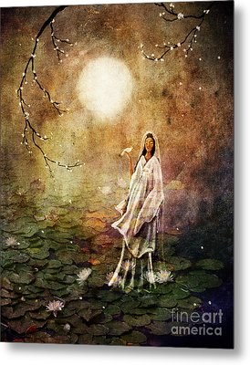 Quan Yin In A Lotus Pond Metal Print by Laura Iverson