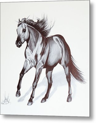 Quarter Horse At Lope Metal Print