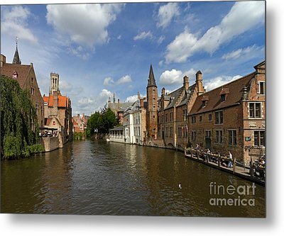 Quay Of The Rosary In Bruges Belgium Metal Print