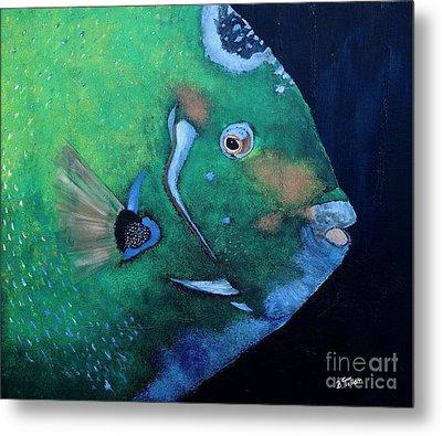Queen Angelfish Metal Print by Barbara Teller