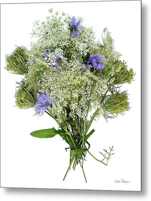 Queen Anne's Lace With Purple Flowers Metal Print