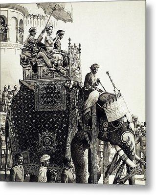 Queen Elizabeth II On An Elephant Metal Print