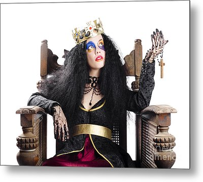 Queen Holding Christian Cross Metal Print