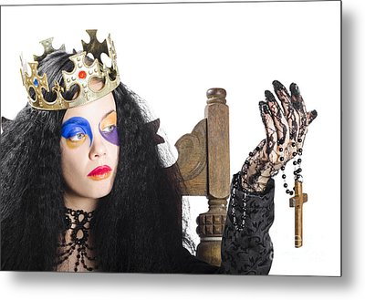 Queen Holding Cross Necklace Metal Print