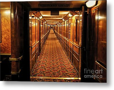 Metal Print featuring the photograph Queen Mary Hallway by Mariola Bitner