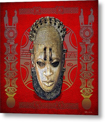 Queen Mother Idia - Ivory Hip Pendant Mask - Nigeria - Edo Peoples - Court Of Benin On Red Leather Metal Print by Serge Averbukh
