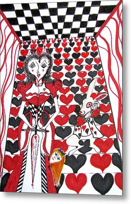 Metal Print featuring the drawing Queen Of Hearts by Barbara Giordano