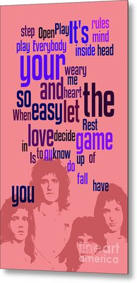 Queen. Play The Game. Can You Recognize The Song? Can You Recognize The Band? Game For Fans Metal Print by Pablo Franchi