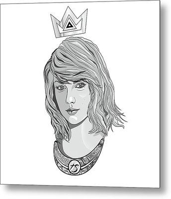 Queen Taylor Swift In Grey Metal Print