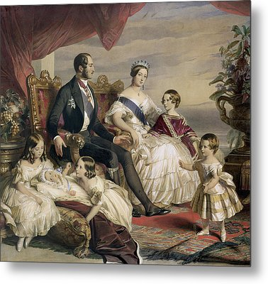 Queen Victoria And Prince Albert With Five Of The Their Children Metal Print