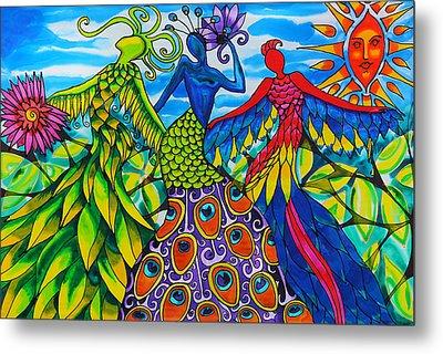 Quetzalcoatl, Peacock And Scarlet Macaw Women Of Belize Metal Print by Lee Vanderwalker