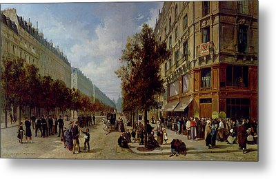 Queueing At The Door Of A Grocery Metal Print by Jacques Guiad