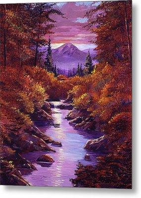Quiet Autumn Stream Metal Print by David Lloyd Glover
