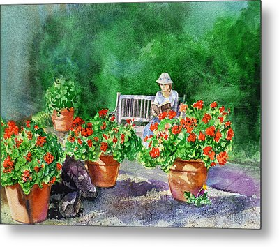 Quiet Moment Reading In The Garden Metal Print by Irina Sztukowski
