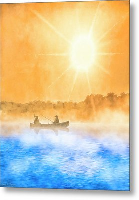 Metal Print featuring the painting Quiet Moments - Fishing At Dawn by Mark Tisdale