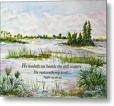 Quiet Waters Psalm 23 Metal Print by Janis Lee Colon