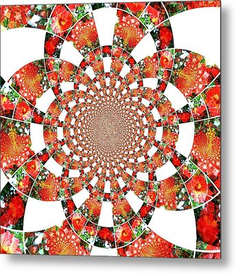 Metal Print featuring the digital art Quilted Flower by Amanda Eberly-Kudamik